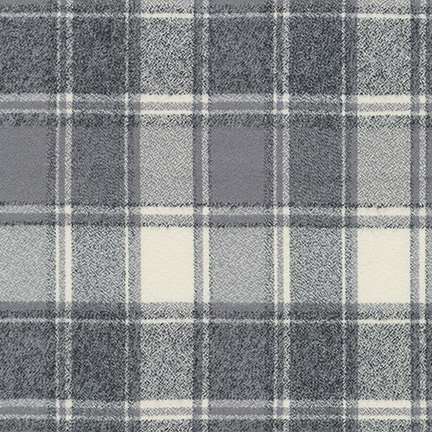 Mammoth Flannel Wide - Iron Plaid - by Robert Kaufman Fabrics