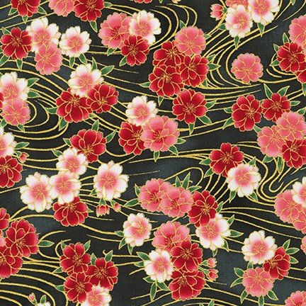 Imperial Collection - SRKM-19512-181 ONYX, Flowers - by Robert Kaufman