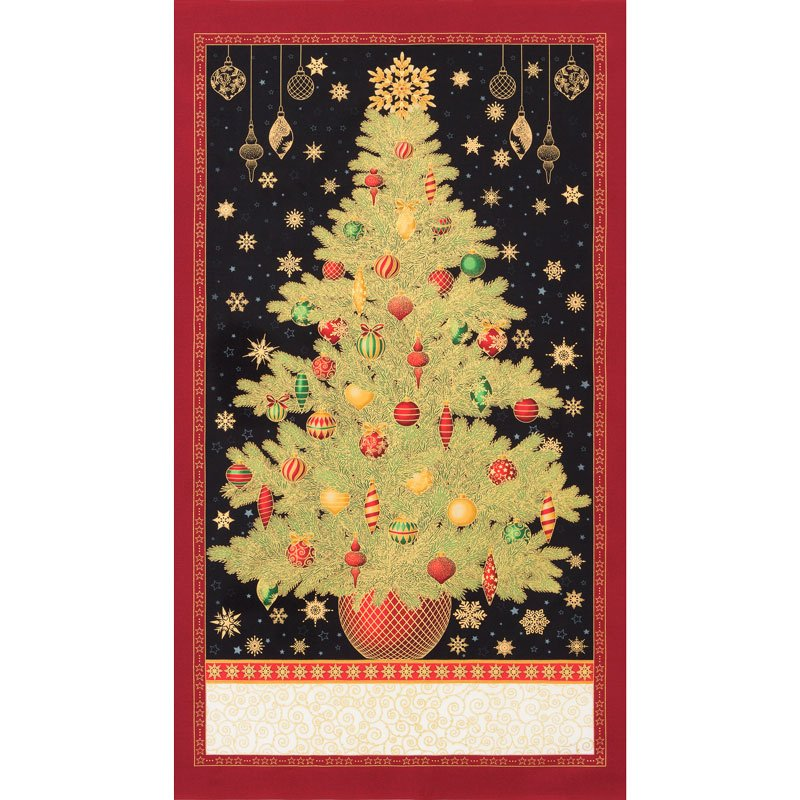 Winter's Grandeur - Christmas Tree Panel SRKM-18378-223 HOLIDAY - By Robert Kaufman Fabrics - Sold by the Panel