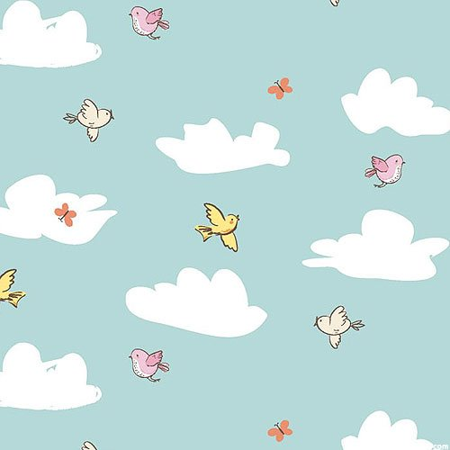 Playful Cuties 3 - Birds in the Clouds Flannel - by 3 Wishes