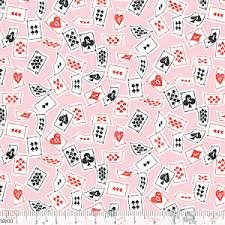 Blend Fabrics Wonderland - Pink Playing Cards