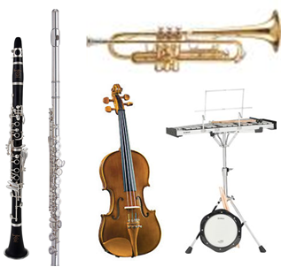 A+) School Yr. Rental + Repair Coverage: Flute, Clarinet, Trumpet, Violin, Junior Viola, Bell Kit, Snare Kit
