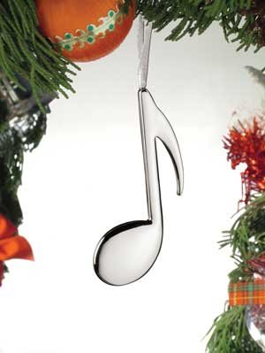 Eighth 8th Note Ornament Silver