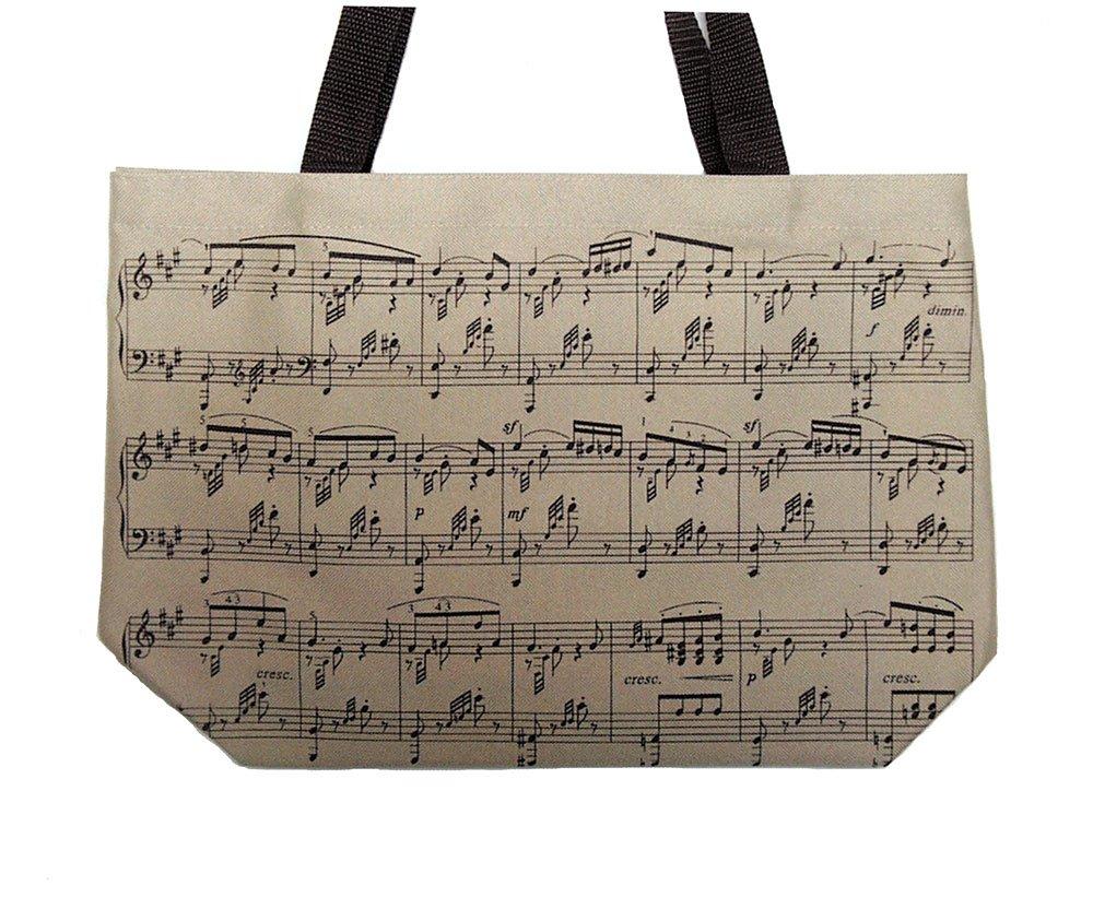 Music Notes Tote Bag - Tan