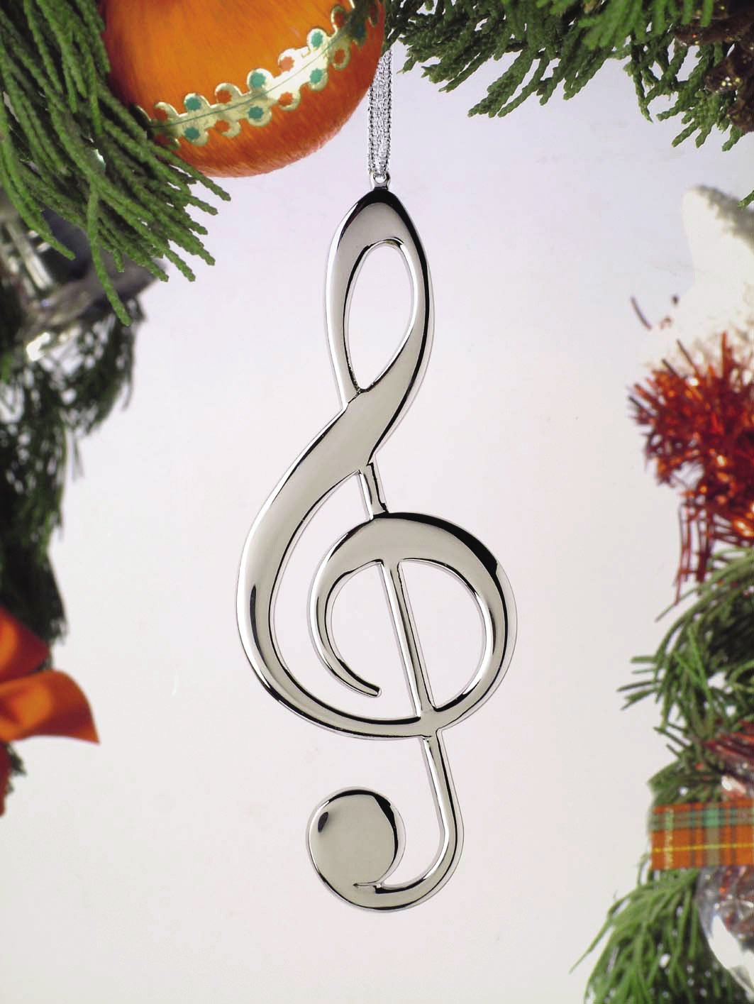 Treble Clef Ornament - Silver
