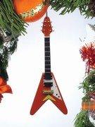 Electric Guitar Ornament - Natural Flying V