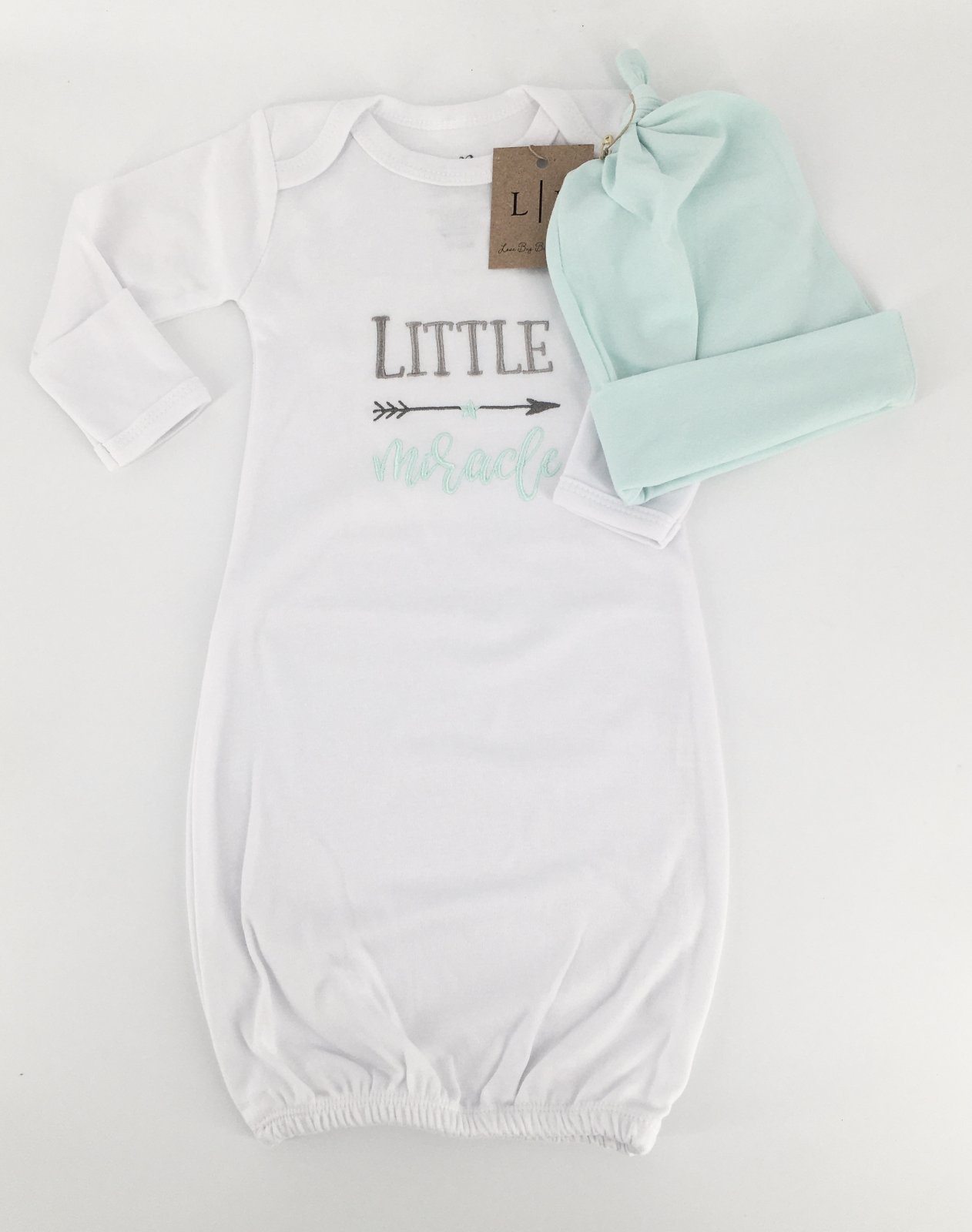 Little Miracle Gown with Matching Hat
