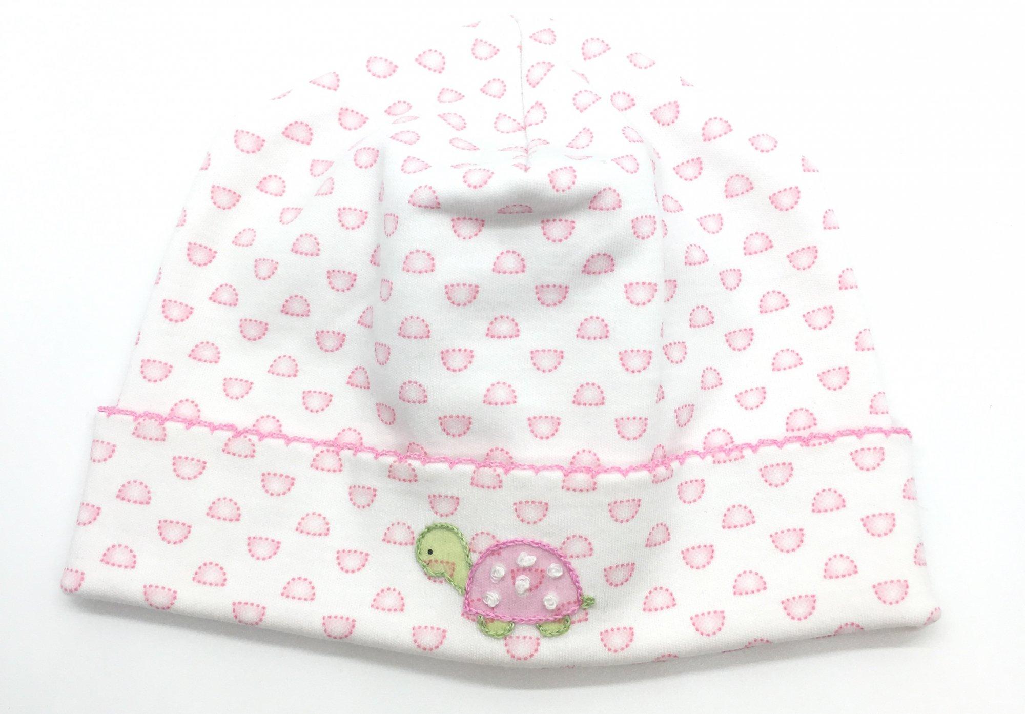 Embroidered Turtle Newborn Hat