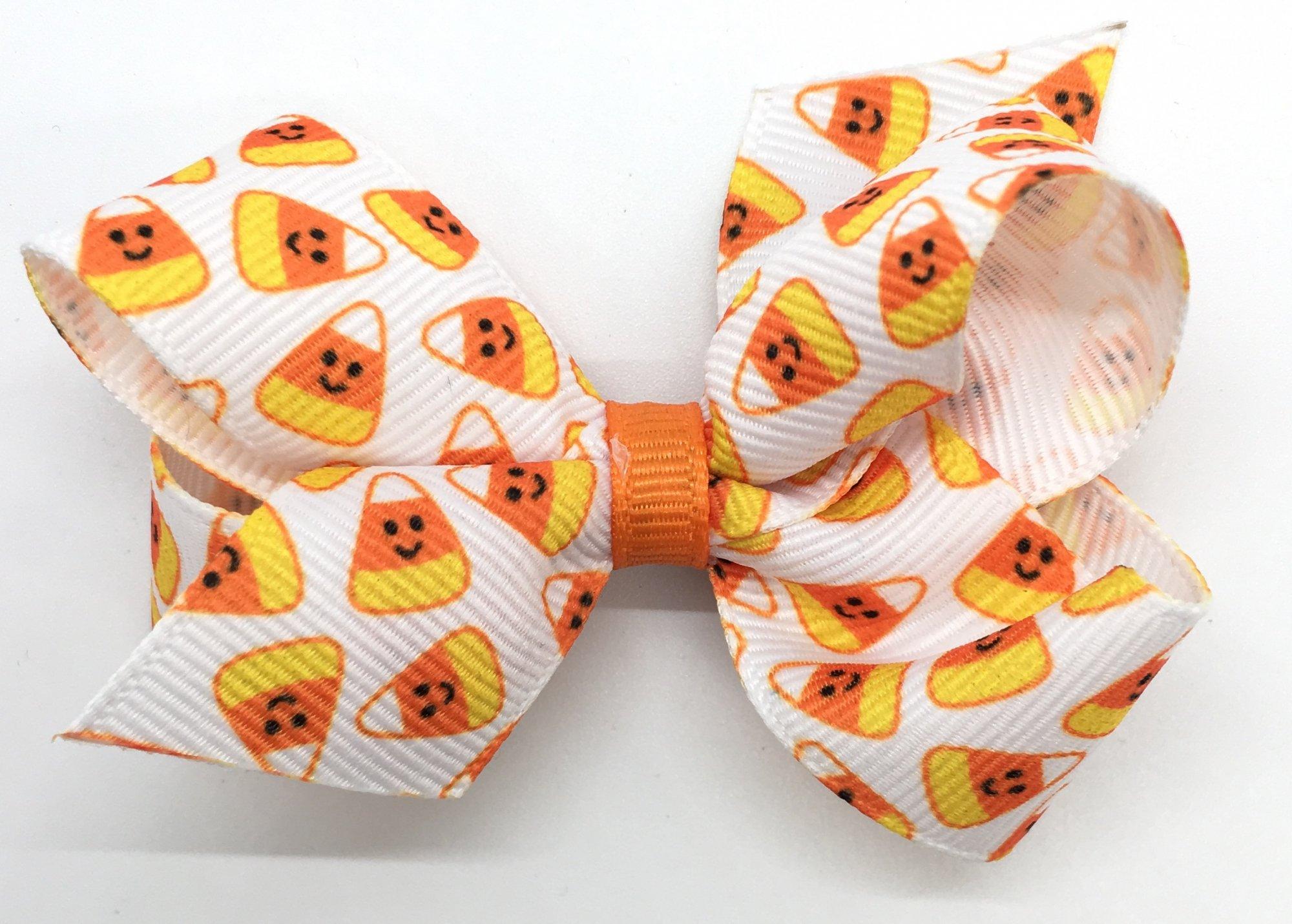 Candy Corn Halloween Print Grosgrain Bow