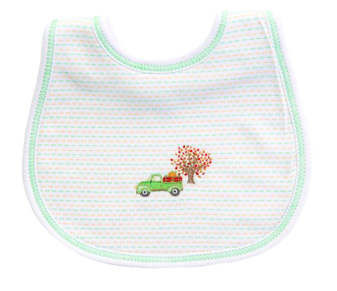 Fall Farm Embroidered Bib