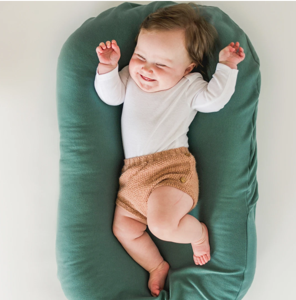 Snuggle Me Infant Lounger Natural with Moss Cover