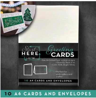 Blank GREETING CARDS/ENVELOPES SZ A6 10PK