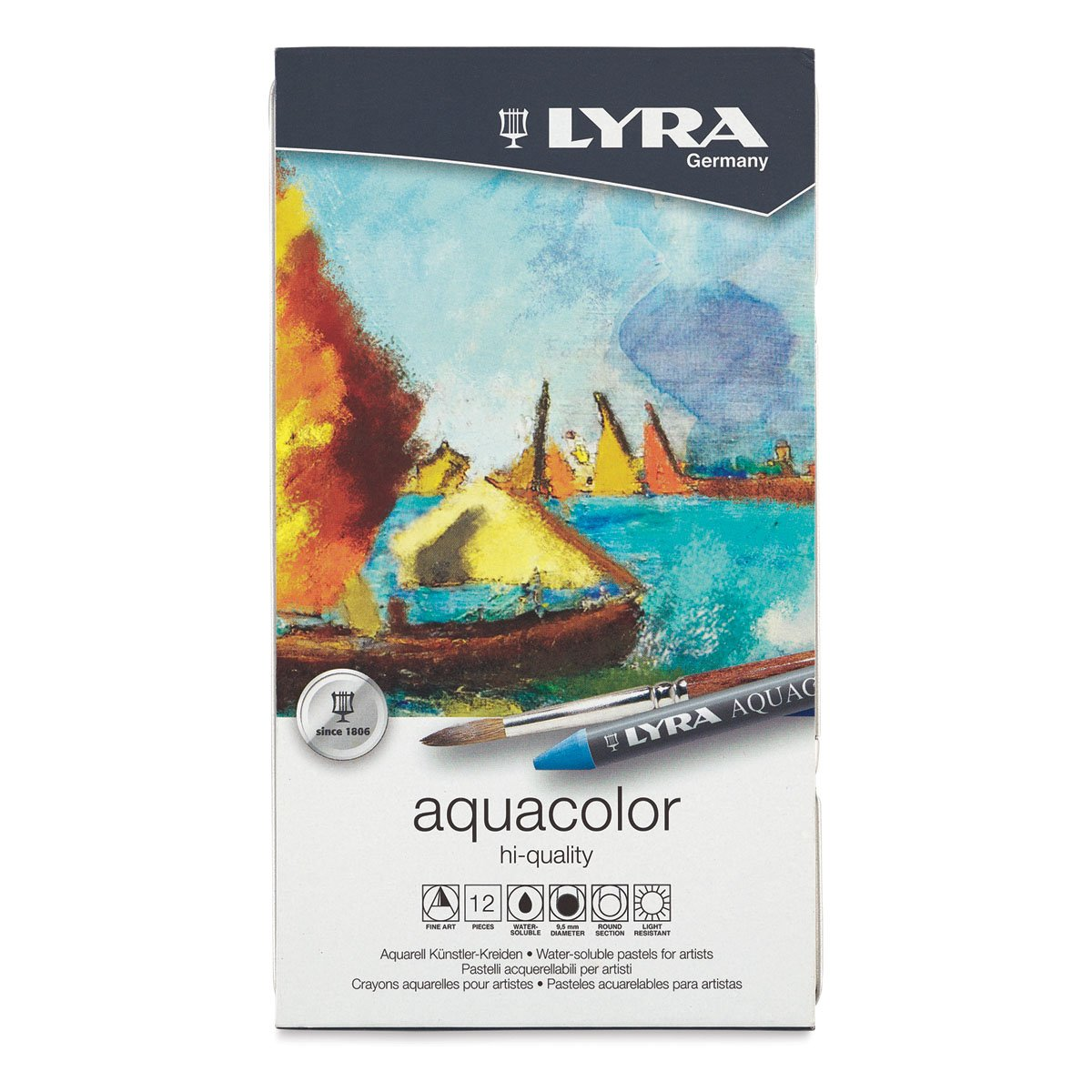 Lyra Aquacolor Crayon Set - Assorted Colors, Water-Soluble, Set of 12