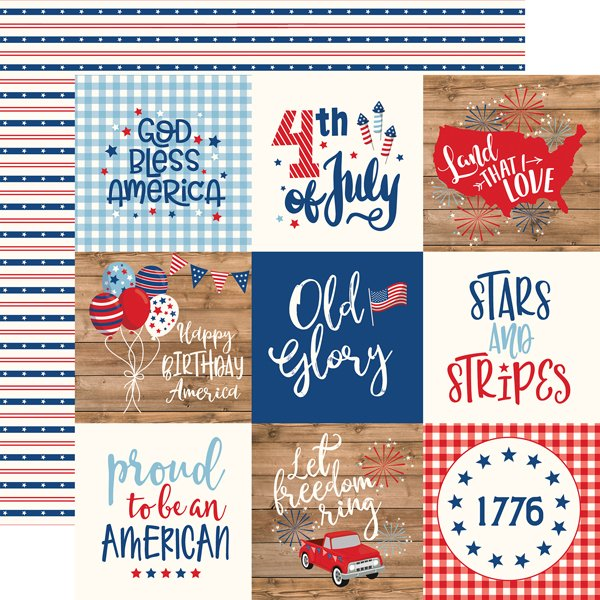 Echo Park AMERICA 4X4 Journaling Cards 12x12 Paper