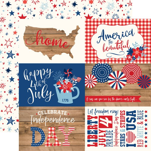 Echo Park AMERICA 4x6 Journaling Cards 12x12 Paper