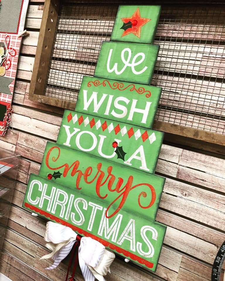 Christmas Tree Wood Slat Sign
