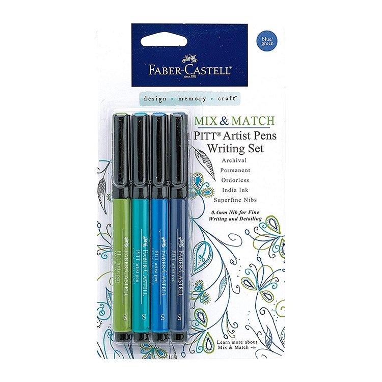 Faber Castell Pitt Artist Pens - Blue/Green Set