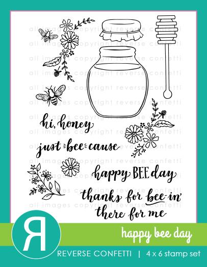 Reverse Confetti Happy Bee Day Stamp