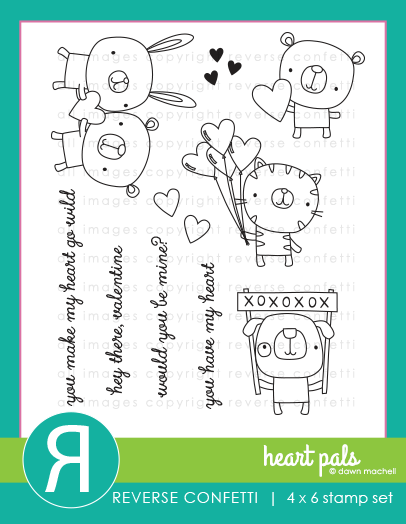 Reverse Confetti Heart Pals Stamp