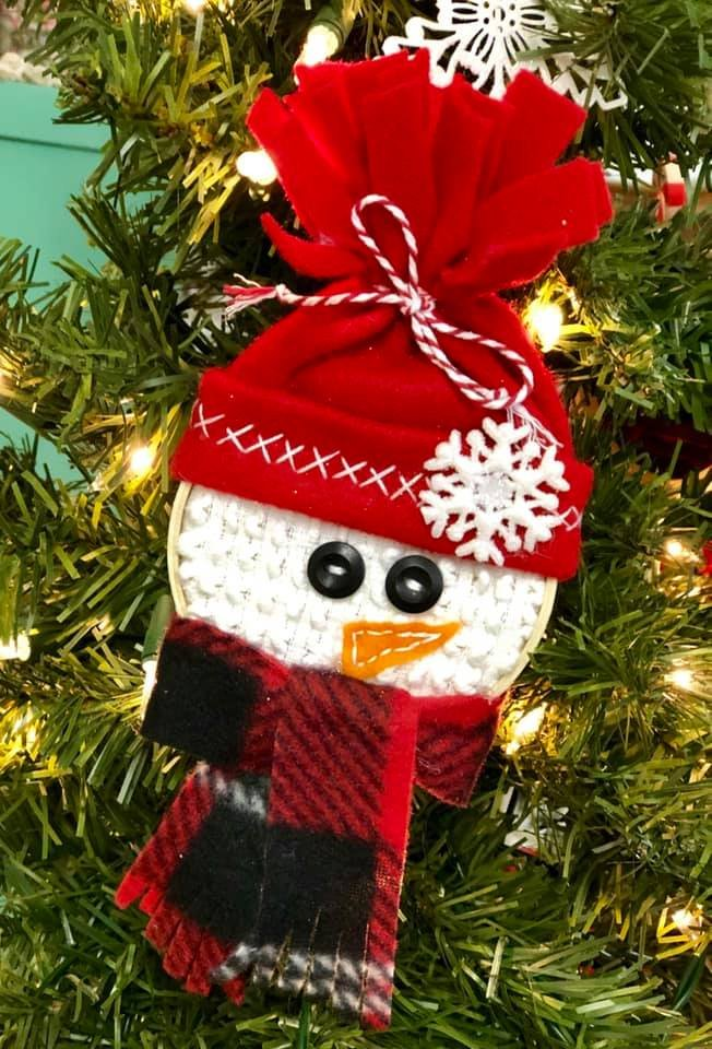 Red Snowman Hoop Ornament Kit
