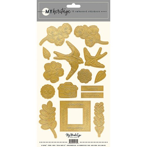 My Mind's Eye My Heritage Embossed Gold Stickers