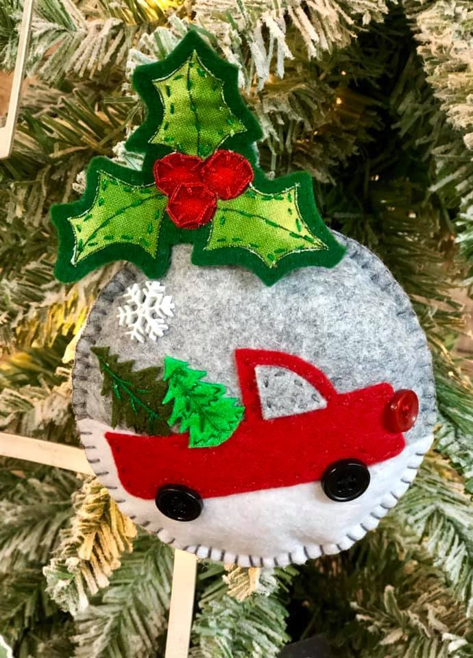 Red Truck Ornament Kit   (set of 2)