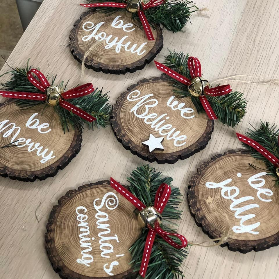 Rustic Wood Slice Ornament Kit   (set of 5)