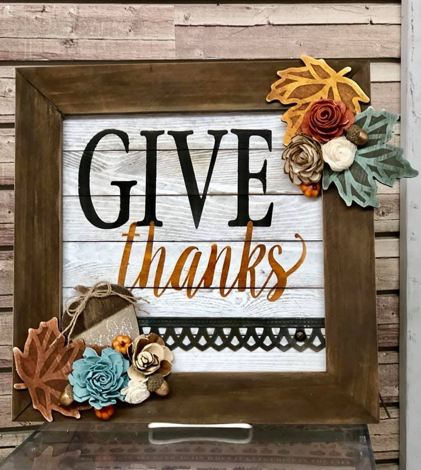 Give Thanks Framed Pallet Sign