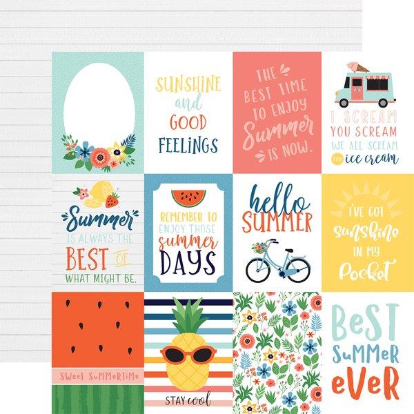 Echo Park Summertime 3x4 Journaling Cards 12x12 Paper