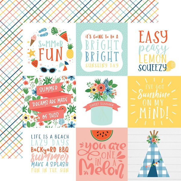 Echo Park Summertime 4x4 Journaling Cards 12x12 Paper