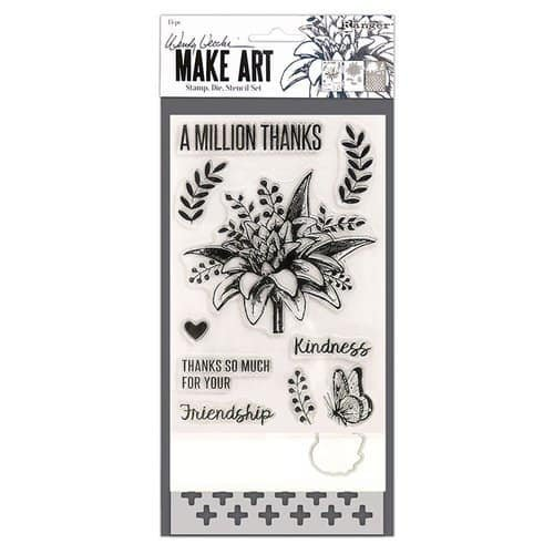 Wendy Vecchi Make Art- A Million Thanks Stamp, Die, Stencil Set