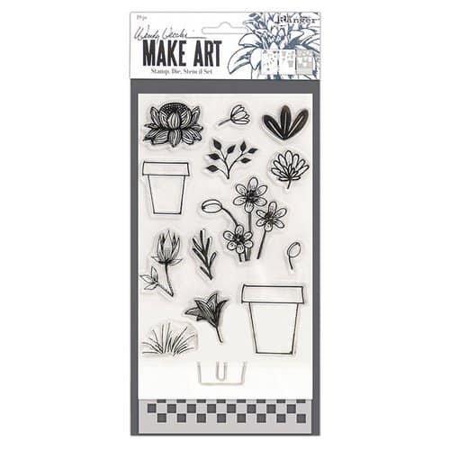 Wendy Vecchi Make Art- Flower Pot Stamp, Die, Stencil Set