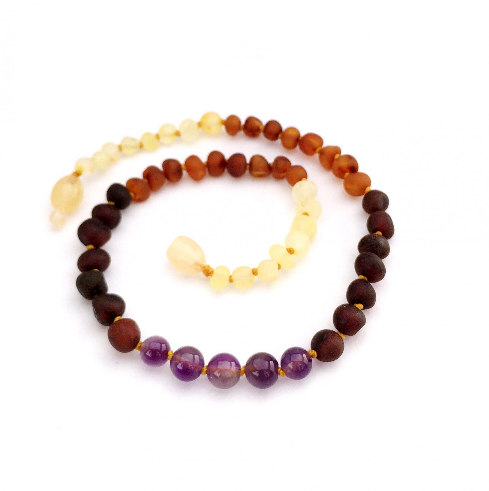 Momma Goose | Amber Necklace | Raw Rainbow with Amethyst