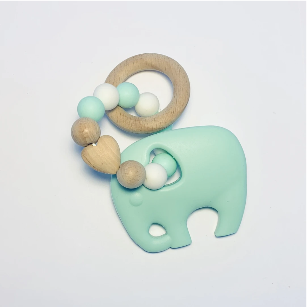 Sugar + Maple | Silicone + Beechwood Teether | Elephant