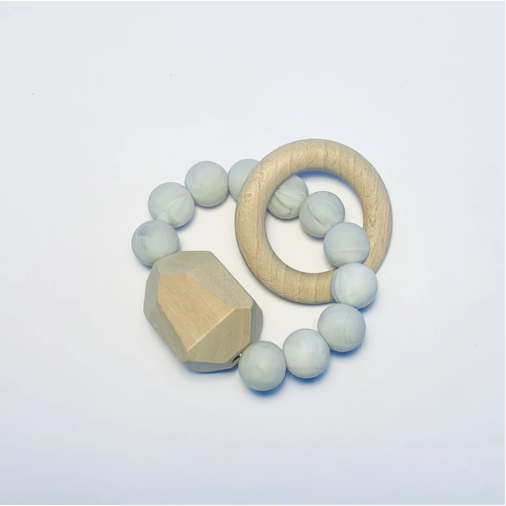 Sugar + Maple | Silicone + Beechwood Teether | Gem