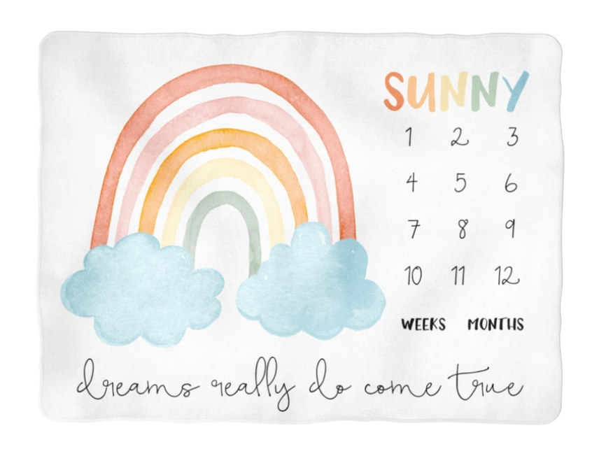 Sugar + Maple | Colorful Rainbow Milestone Blanket | Personalized