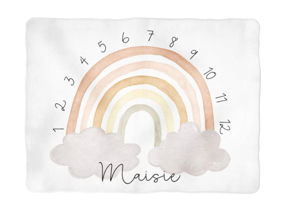 Sugar + Maple | Neutral Rainbow Arch Milestone Blanket | Personalized