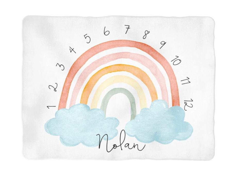 Sugar + Maple | Colorful Rainbow Arch Milestone Blanket | Personalized