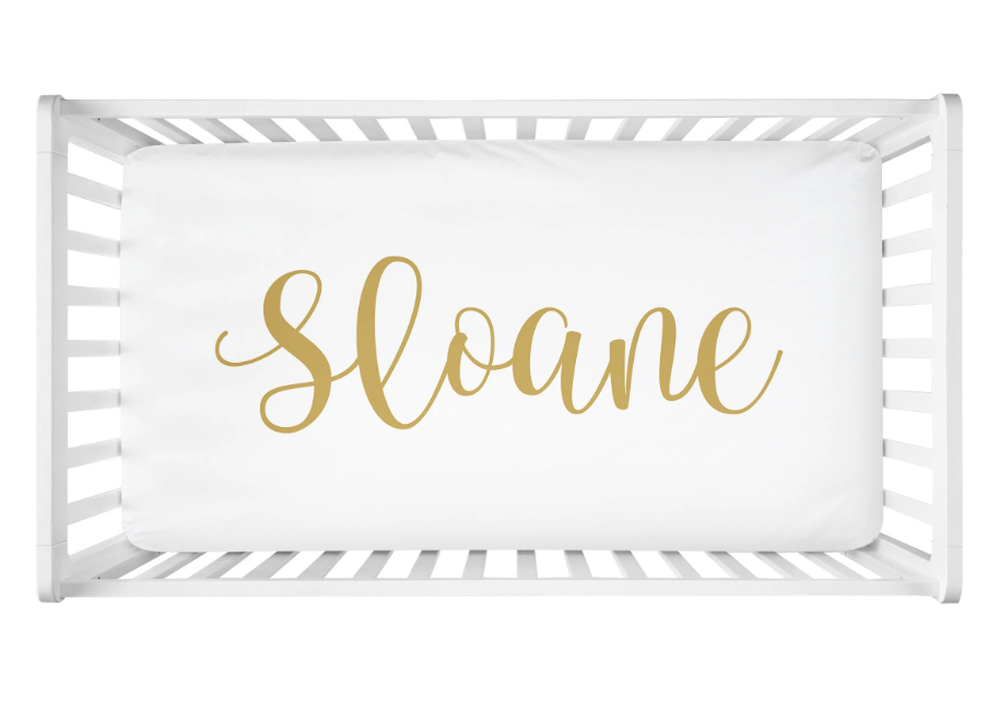 Sugar + Maple | Personalized Crib Sheet | Centered Name