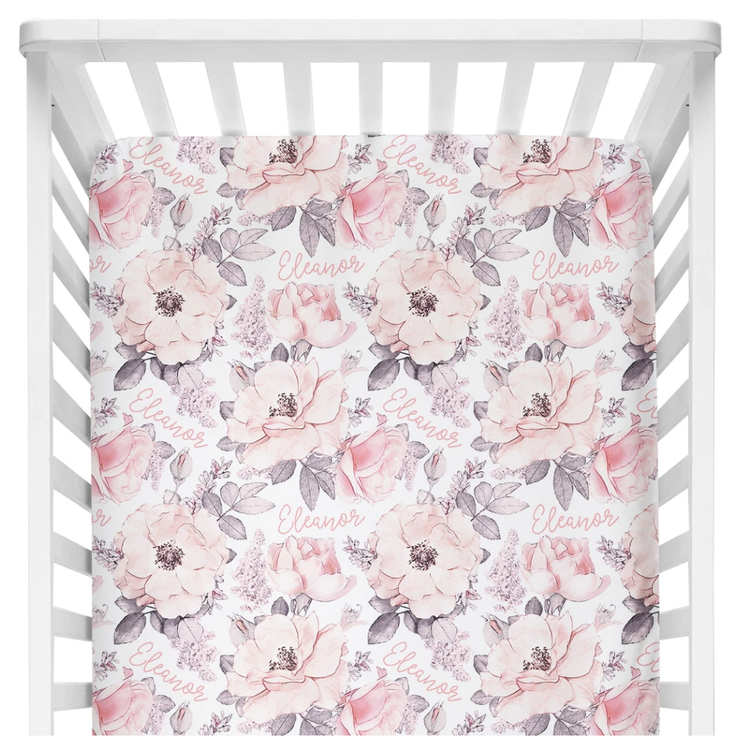 Sugar + Maple | Personalized Crib Sheet | Wallpaper Floral
