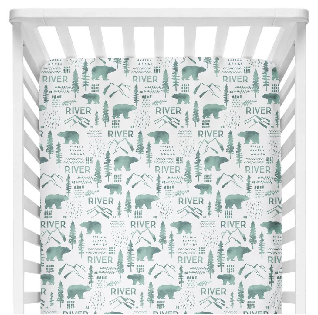Sugar + Maple   Personalized Crib Sheet   Woodland Green