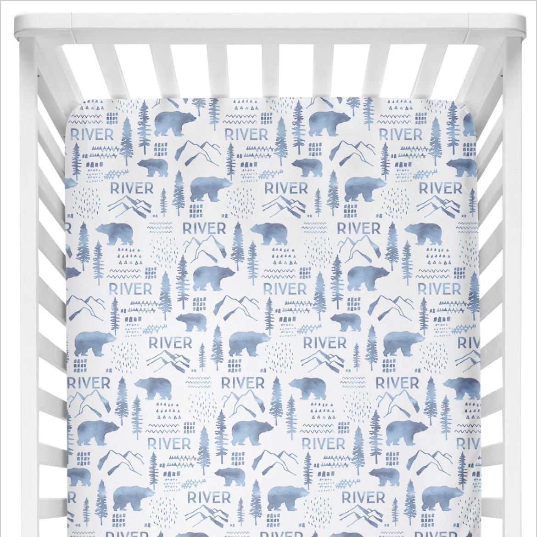 Sugar + Maple | Personalized Crib Sheet | Woodland Blue