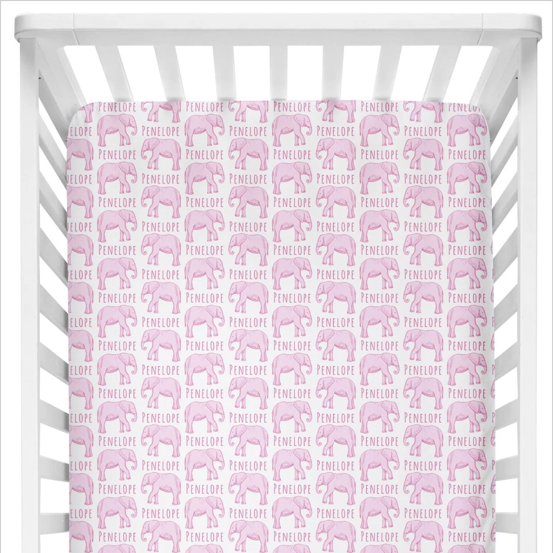 Sugar + Maple | Personalized Crib Sheet | Elephant Pink