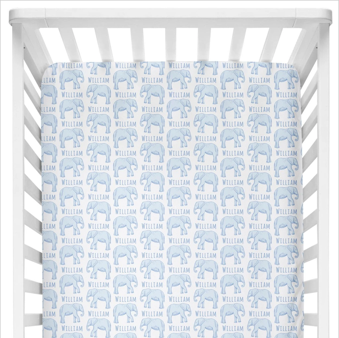 Sugar + Maple | Personalized Crib Sheet | Elephant Blue