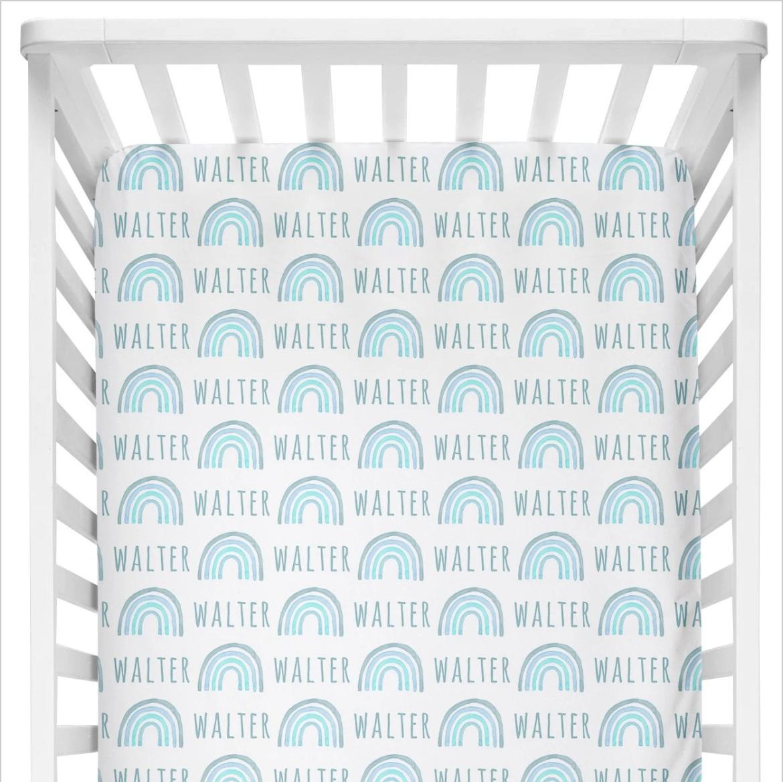 Sugar + Maple | Personalized Crib Sheet | Rainbow Blue