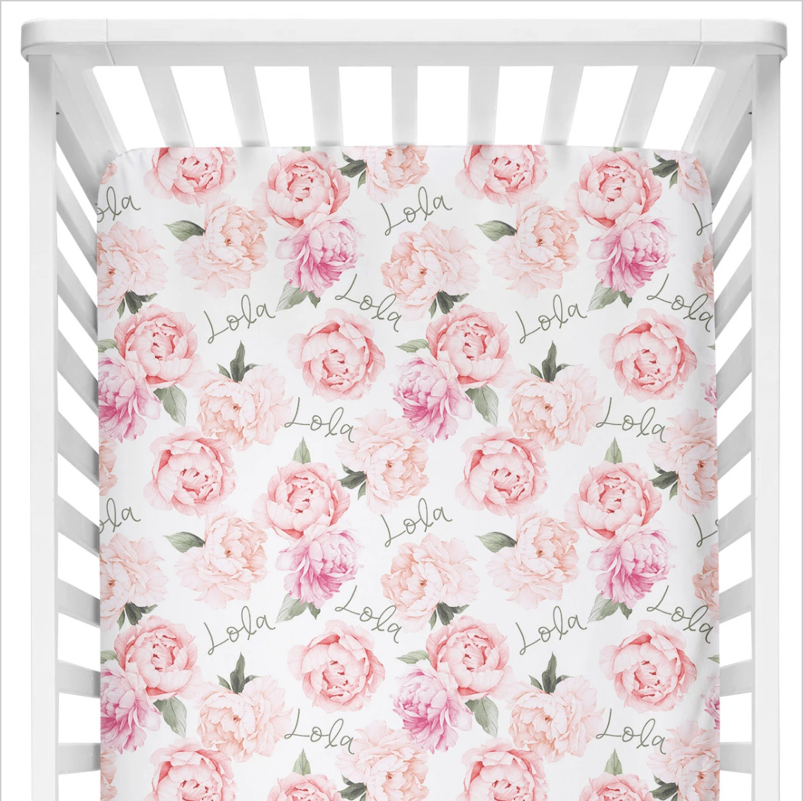 Sugar + Maple | Personalized Crib Sheet | Peach Peony Blooms