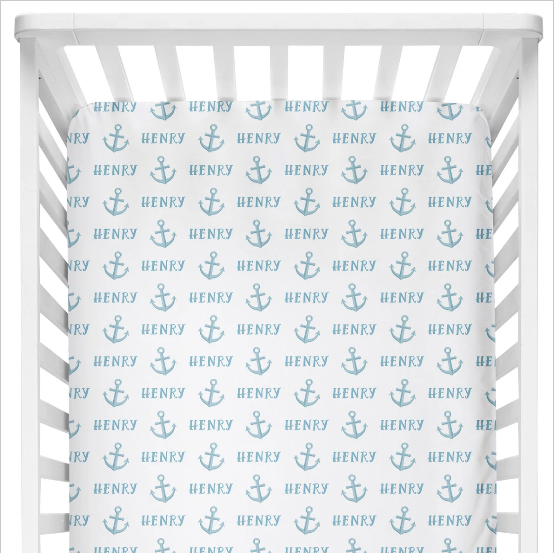 Sugar + Maple | Personalized Crib Sheet | Anchor Blue
