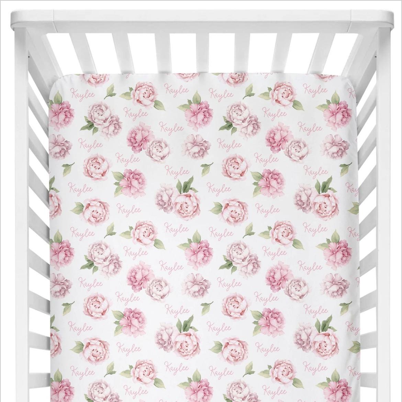 Sugar + Maple   Personalized Crib Sheet   Pink Peonies