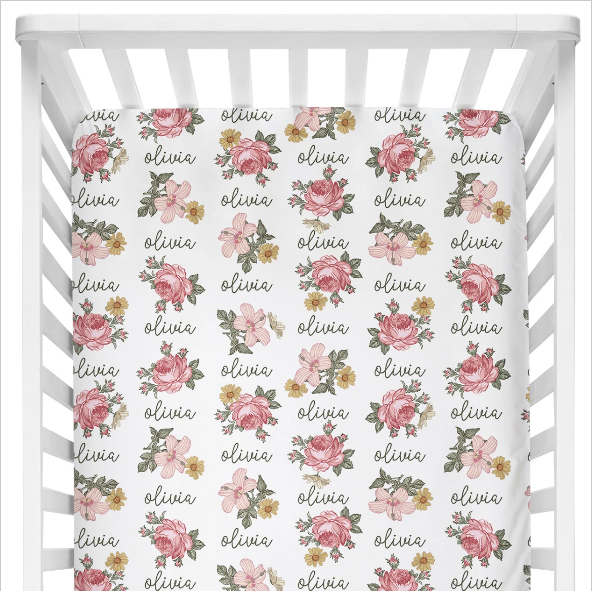 Sugar + Maple | Personalized Crib Sheet | Retro Rose