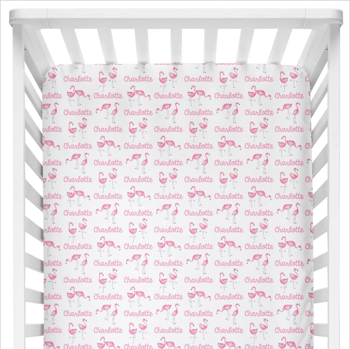 Sugar + Maple | Personalized Crib Sheet | Flamingo